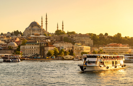 Tourist boat sails on the Golden Horn in Istanbul at sunset, Turkey 免版税图像 - 38714244