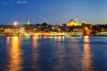istanbul night: The historical center of Istanbul at night, Turkey. View from the Golden Horn.