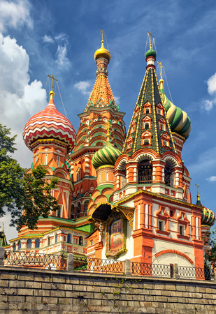 St. Basil`s Cathedral at the Red Square in Moscow, Russia photo