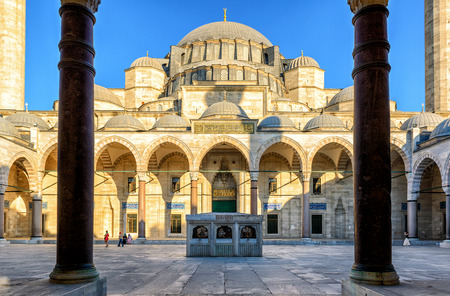 istanbul: The inner courtyard of the Suleymaniye Mosque in Istanbul, Turkey. The Suleymaniye Mosque is the largest mosque in the city, and one of the best-known sights of Istanbul.
