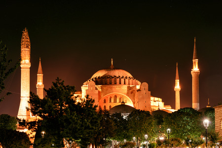 hagia: View of the Hagia Sophia at night in Istanbul, Turkey