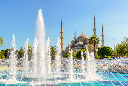 islamic scenery: View of the Blue Mosque (Sultanahmet Camii) with fountain in Istanbul, Turkey