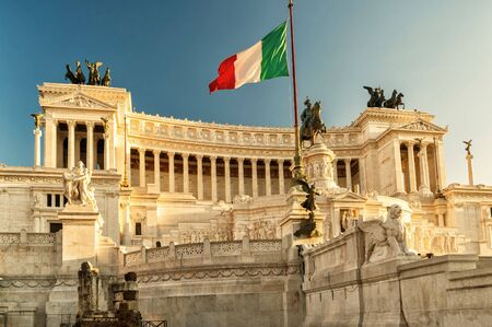 europe flag: The Vittoriano building on the Piazza Venezia at sunset in Rome, Italy Stock Photo