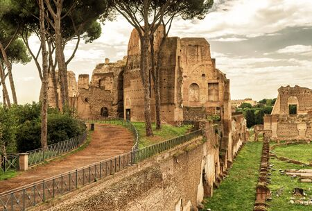 palatine: The ruins of the stadium of Domitian on the Palatine Hill in Rome Italy Stock Photo