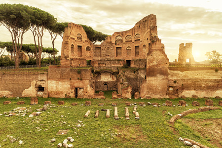 palatine: The ruins of the stadium of Domitian on the Palatine Hill at sunset in Rome Italy Stock Photo