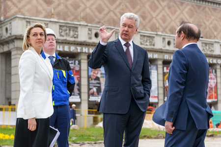 MOSCOW - JUNE 11, 2015: Moscow Mayor S. Sobyanin visits the Triumph Square. This is one of the central squares of Moscow, which conducted large-scale reconstruction.
