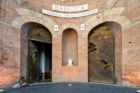 Angeli: ROME, ITALY - OCTOBER 1, 2012:  Basilica of St. Mary of the Angels and the Martyrs (Santa Maria degli Angeli e dei Martiri). An unusual church built inside the Baths of Diocletian in the 16th century.