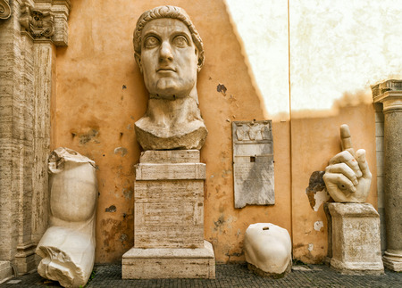 statue: Fragments of a giant statue of Constantine the Great in the Capitoline Hill Rome