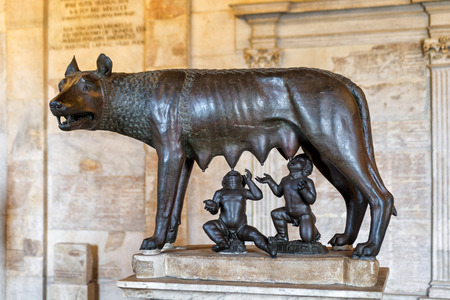 lupa: The bronze statue of the Capitoline Wolf Lupa Capitolina in the Capitoline Museum Rome Editorial