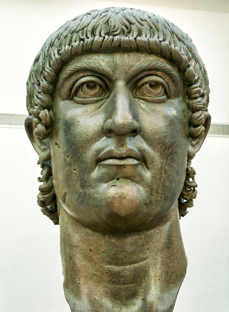 constantine: ROME, ITALY - OCTOBER 3, 2012: The head of the bronze statue of Constantine the Great in the Capitoline Museum. Editorial
