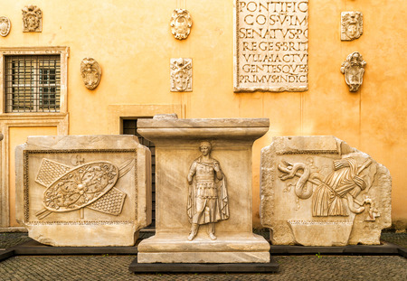 display figure: ROME, ITALY - OCTOBER 3, 2012: Antique works of art in the Capitoline Museum. Capitoline Hill - one of the hills of ancient Rome, where in ancient times was the Senate.