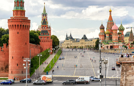vasily: MOSCOW - JULY 10, 2015: Red Square with Vasilevsky descent. Kremlin and Cathedral of St. Basil. Editorial