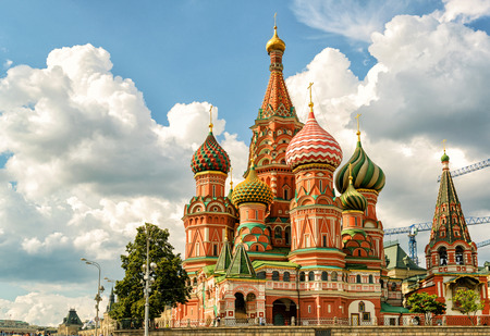 squares: St. Basil`s Cathedral on the Red Square in Moscow, Russia Editorial