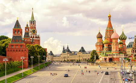 Kremlin and Cathedral of St. Basil at the Red Square in Moscow, Russia