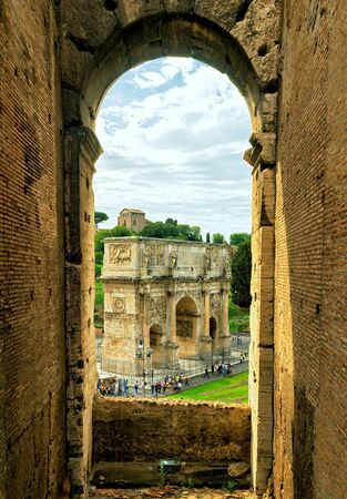 constantine: ROME, ITALY - OCTOBER 1, 2012: Antique arch of Constantine the Great. View from Coliseum.