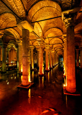 constantinople ancient: ISTANBUL - MAY 25, 2013: Inside the Basilica Cistern. It is the largest of several hundred ancient cisterns that lie beneath the city of Istanbul (formerly Constantinople).