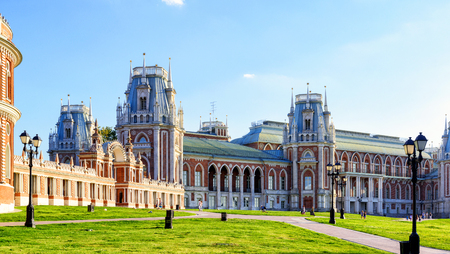 the tsaritsyno: The grand palace of queen Catherine the Great in Tsaritsyno, Moscow, Russia. Tsaritsyno - the largest in Europe, pseudo-Gothic building of the XVIII century. Editorial