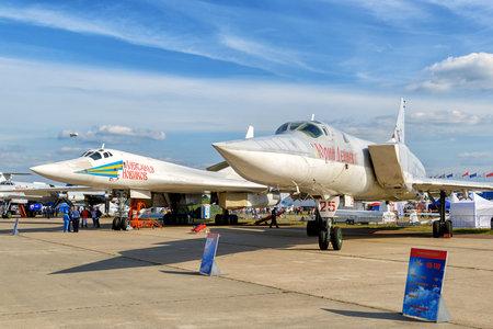 blackjack: MOSCOW REGION - AUGUST 28, 2015: Russian supersonic strategic bombers Tupolev Tu-160 Blackjack and Tu-22M3 Backfire at the International Aviation and Space Salon (MAKS).
