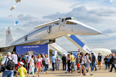 airborne vehicle: MOSCOW REGION - AUGUST 28, 2015: The Tupolev Tu-144 soviet supersonic airliner at the International Aviation and Space Salon (MAKS).