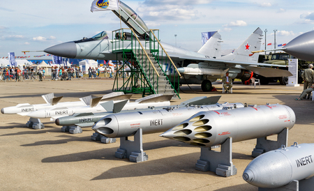 mig: MOSCOW REGION - AUGUST 28, 2015: Bombs and missiles for the MiG fighter at the International Aviation and Space Salon (MAKS) in Zhukovsky.