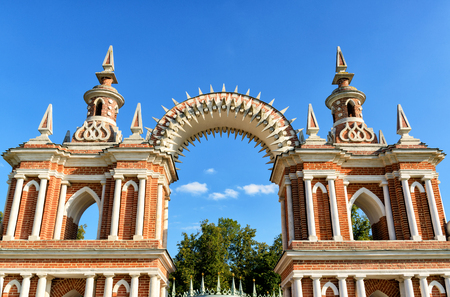 the tsaritsyno: The arch of palace of queen Catherine the Great in Tsaritsyno, Moscow, Russia. Tsaritsyno - the largest in Europe, pseudo-Gothic building of the XVIII century.