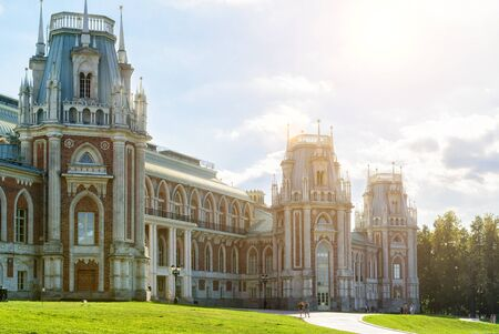 tsaritsyno: MOSCOW - AUGUST 11, 2015: The grand palace of queen Catherine the Great in Tsaritsyno. Tsaritsyno - the largest in Europe, pseudo-Gothic building of the XVIII century.