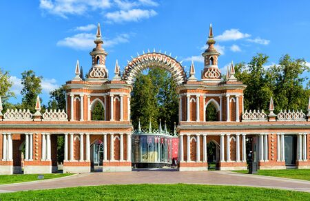 queen blue: The arch of palace of queen Catherine the Great in Tsaritsyno, Moscow, Russia. Tsaritsyno - the largest in Europe, pseudo-Gothic building of the XVIII century.