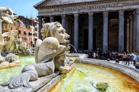 italy: Baroque fountain in front of Pantheon at the Piazza della Rotonda in Rome, Italy Editorial