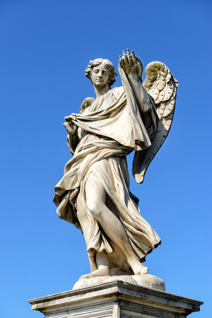 national historic site: Angel statue on the Ponte Sant`Angelo in Rome, Italy