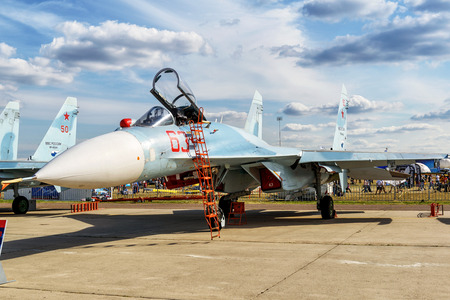 supersonic transport: MOSCOW REGION - AUGUST 28, 2015: Russian multirole fighter Sukhoi Su-27sm3 Flanker-C at the International Aviation and Space Salon (MAKS) in Zhukovsky. Editorial