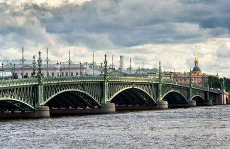 bridge: Trinity Bridge (Troitsky bridge) over the Neva river in Saint Petersburg, Russia Stock Photo