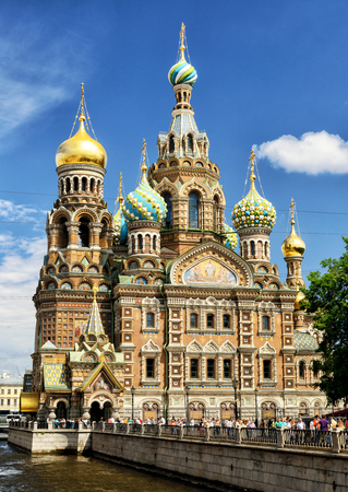 ST PETERSBURG, RUSSIA - JUNE 14, 2014: Church of the Savior on Spilled Blood. This is an architectural landmark of central St Petersburg, and a unique monument to Alexander II the Liberator. Editorial