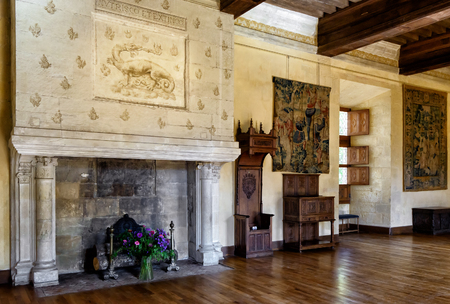 french renaissance: FRANCE - SEPTEMBER 23, 2013: Interior chateau de Azay-le-Rideau, France. This castle is located in the Loire Valley, was built from 1515 to 1527, one of the earliest French Renaissance