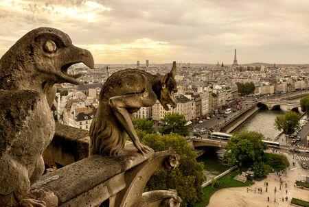 gargouille: Chimera Gargouille sur la cathédrale de Notre Dame de Paris avec vue sur Paris, France