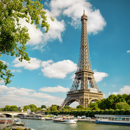 The Eiffel tower from the river Seine in Paris, France 免版税图像 - 50018707