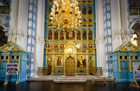 iconostasis: MOSCOW REGION - NOVEMBER 21, 2015: The altar and the iconostasis of the Resurrection Cathedral in New Jerusalem Monastery. Istra, Russia.