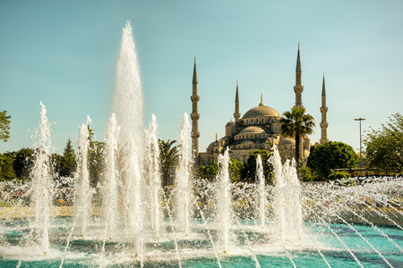 camii: The Blue Mosque (Sultanahmet Camii) with fountain in Istanbul, Turkey