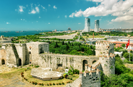 mehmed: The Yedikule Fortress in Istanbul, Turkey. Yedikule fortress, or Castle of Seven Towers, is the famous fortress built by Sultan Mehmed II in 1458.