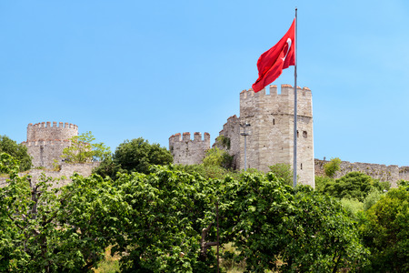 constantinople ancient: The Yedikule Fortress (Castle of Seven Towers) and ancient walls of Constantinople in Istanbul, Turkey
