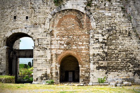 constantinople: Famous Golden Gate of Constantinople. Inside the Yedikule Fortress in Istanbul, Turkey. Stock Photo