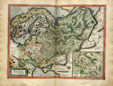 mercator: Old map of the Russia from Atlas printed in 1587 by Mercator