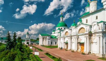 tourism in russia: Inside the Spaso-Yakovlevsky Monastery in Rostov the Great, Russia. The ancient town of Rostov the Great is a tourist center of the Golden Ring of Russia. Stock Photo