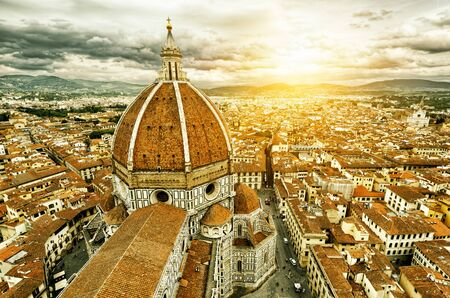 saint mary: Panorama of Florence, Italy. The Basilica di Santa Maria del Fiore (Basilica of Saint Mary of the Flower) in the foreground. Stock Photo