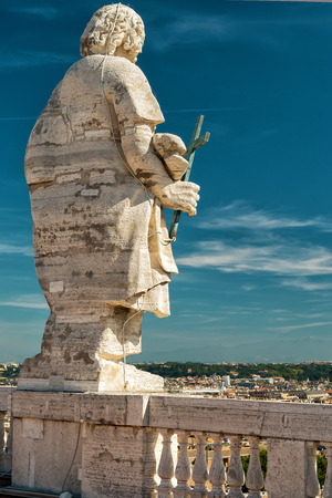 apostle: Statue of Apostle on the roof of the Saint Peter`s Basilica (San Pietro) in Vatican, Rome, Italy