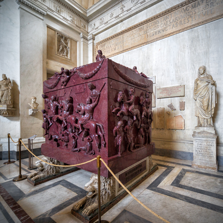constantine: VATICAN - MAY 14, 2014: Sarcophagus of Helena (the mother of the emperor Constantine the Great) in the Museo Pio-Clementino, Vatican Museum, Rome Editorial