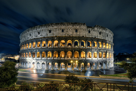 Colosseum (Coliseum) at night, Rome, Italy