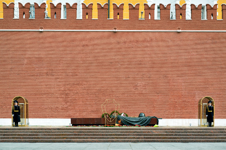 nazism: MOSCOW - APRIL 28, 2016: Tomb of the Unknown Soldier at the Kremlin Wall. The Eternal Flame burns in memory of the millions of Soviet soldiers who fell in the struggle against Nazism. Editorial