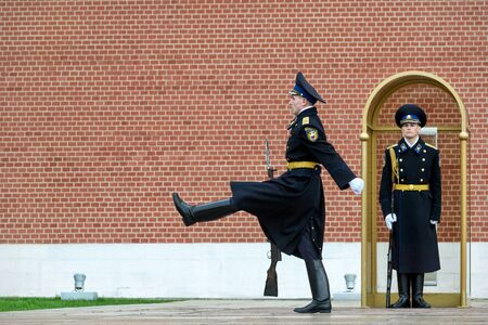 tomb unknown soldier: MOSCOW - APRIL 28, 2016: Changing of the Honor Guard Ceremony at the Tomb of the Unknown Soldier at the Kremlin Wall in Alexander Garden. Editorial