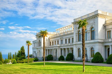Russian palace: Livadia Palace near city of Yalta, Crimea, Russia. Livadia Palace was a summer retreat of the last Russian tsar, Nicholas II. The Yalta Conference was held there in 1945. Editorial