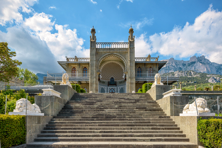vorontsov: Vorontsov Palace in the town of Alupka, Crimea, Russia. Mount Ai-Petri in the background.